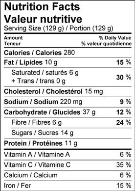 Image of nutrition facts pina colada