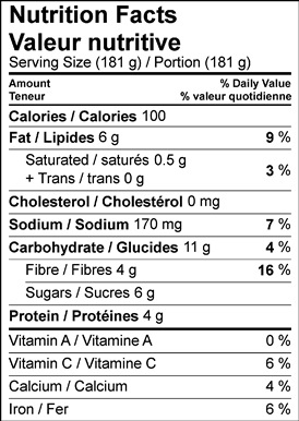 Image of nutrition facts table for roasted rosemary eggplant with tahini yogurt recipe.