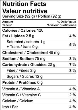 Image of nutrition facts table for apple ricotta fritters