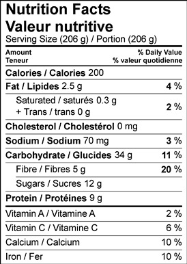 Image of nutrition facts table for no cook oatmeal with Ontario pears recipe.
