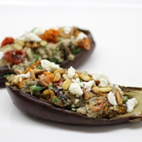 Image of roasted eggplant and oven dried tomato dip.