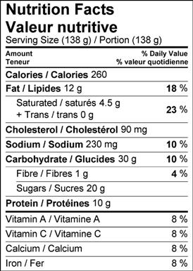 Image of the nutrition facts table for Sour Cherry & Pistachio Cheesecake