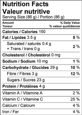 Image of nutrition facts table for the Spiced Date Parfait