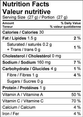 Image of nutrition facts table for Spicy Kale Chips