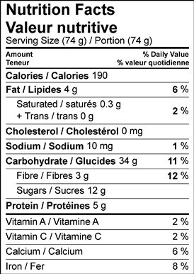 Image of the nutrition facts table for Sticky Maple Prune Biscotti