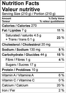 Link to nutrition facts table vanilla rice pudding