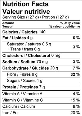 Image of nutrition facts white bean and forest mushroom salad