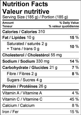 Image of nutrition facts table for Ginger Lime Wild Salmon with an Herbed Quinoa Crust recipe.