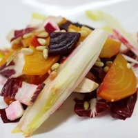 Image of winter greens salad with pickled beets