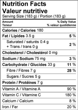 Image of nutrition facts table yalanji