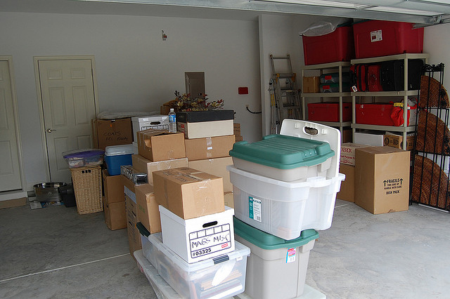 Photo of boxes in garage