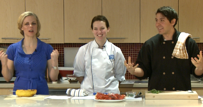 Chrsity Brissette, Katie Verissimo, and Geremy Capone give a demonstration in the ELLICSR kitchen