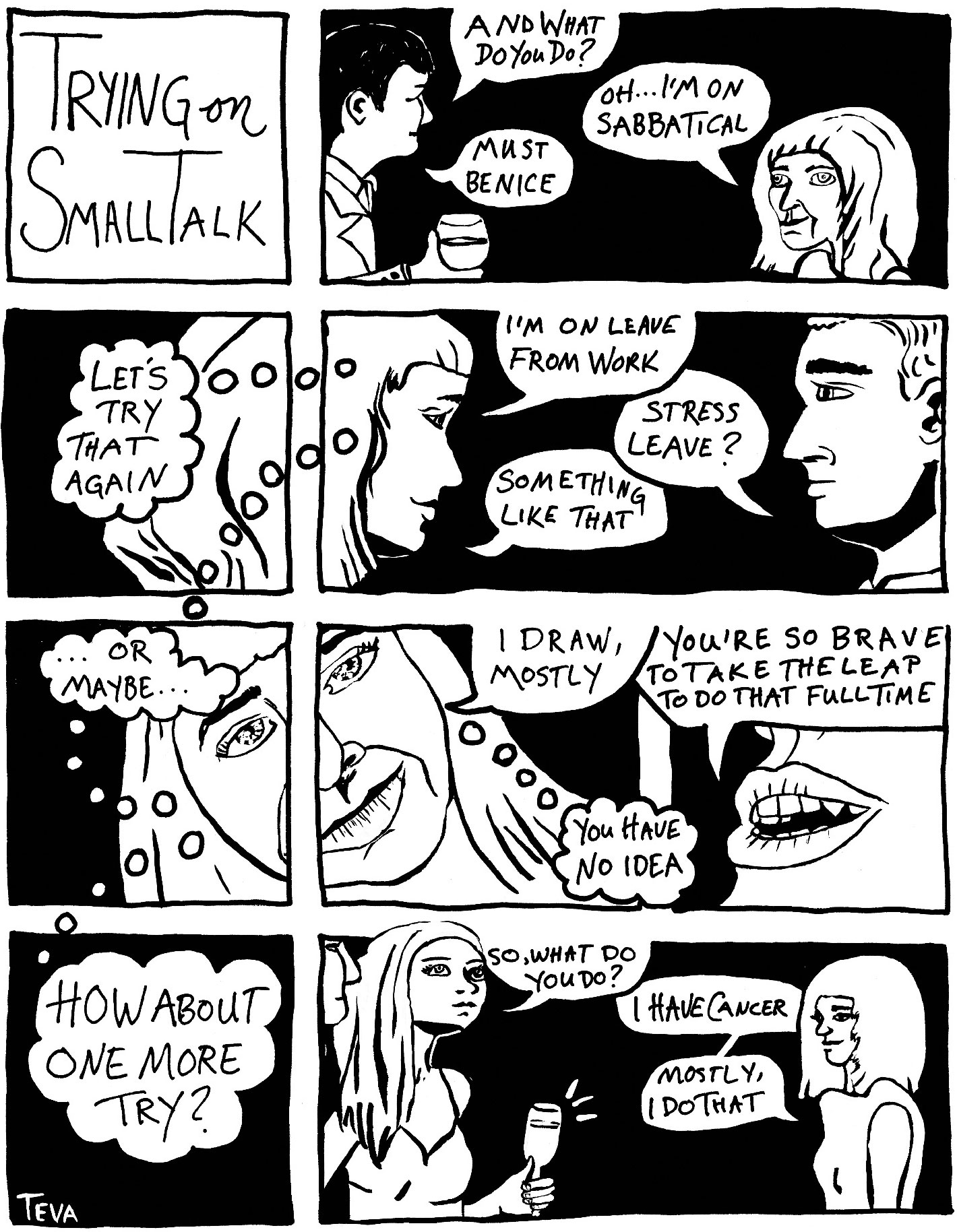 Image of Teva's comic on Trying on Small Talk